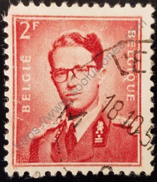 Sello Bélgica 1953 Rey Baudouin valor facial 2 fr – rojo parduzco