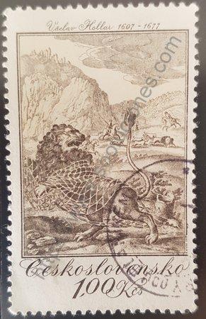 Estampilla fábula el león y el ratón Checoslovaquia 1975