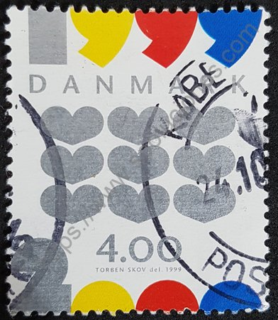 Estampilla Dinamarca cambio milenio 1999-2000 corazones.