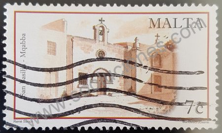 Estampilla capilla San Basilju en Malta año 2004