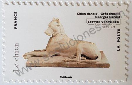Estampilla de escultura perro danés Francia 2013