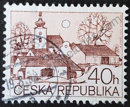 República Checa estampilla 1995 Iglesia y plaza valor 40h