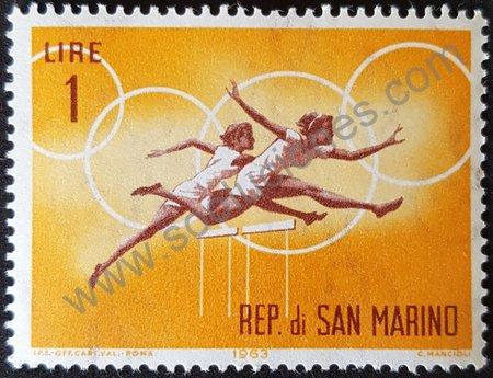 Estampilla San Marino 1963 salto con obstáculos