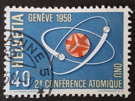Sello: Suiza 1958 conferencia atómica Ginebra 2a.