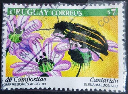 Sello Uruguay 1999 Escarabajo soldado
