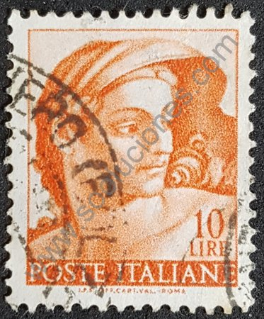Estampilla de Italia 1961 fresco de Miguel Ángel