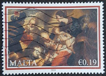 Estampilla de Malta 2010. Adoración de los Reyes
