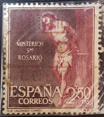 Sello pintura Cristo en el pilar España 1962