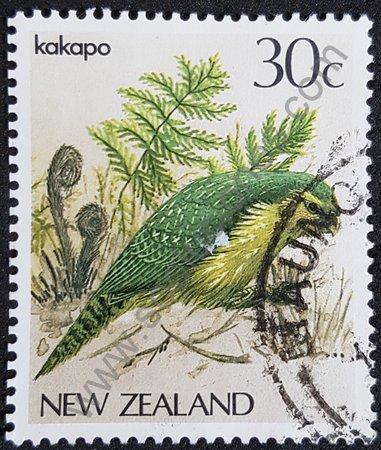 Estampilla de Nueva Zelanda loro Kakapo 1986