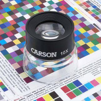 Carson Lupa de Contacto LumiLoupe de 10x, negro, transparente