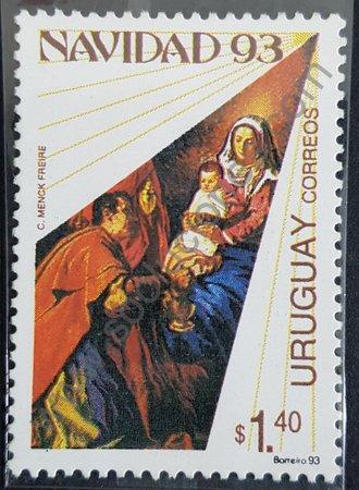 Navidad 93 Uruguay sello adoración de los reyes