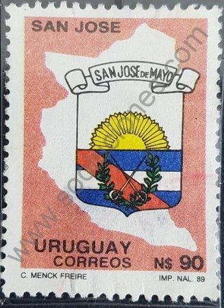 Estampilla escudo de San José Uruguay 1990