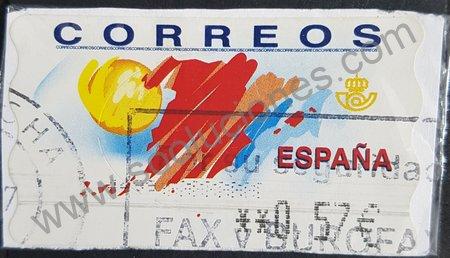 Etiqueta ATM España 2001 Mapa y sol