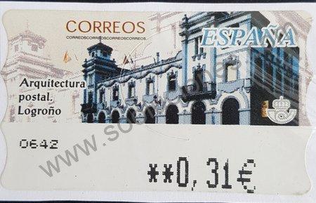 Oficina correos Logroño sello España 2002 (ATM).