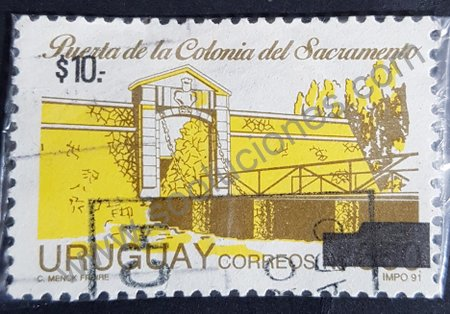 Sello Uruguay 1991 Puerta Colonia del Sacramento
