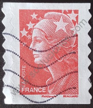Sello Francia 2008 Marianne Beaujard sin valor facial color rojo