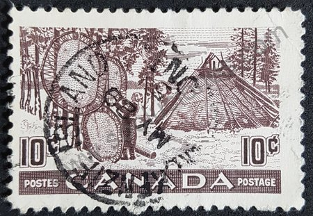 Canadá secado de pieles estampilla de 1950