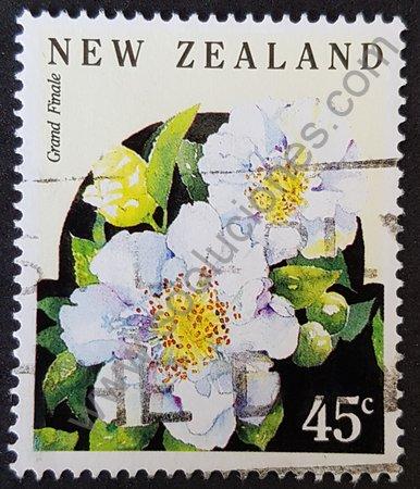 Nueva Zelanda sello 1992 Camelia japónica