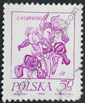 Sello Polonia 1974 Flor Iris Valor facial 50 gr