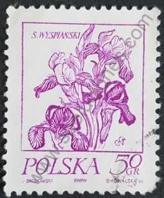 Sello Polonia 1974 Flor Iris Valor facial 50 gr