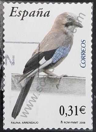 Sello Arrendajo España 2008 Garrulus glandarius