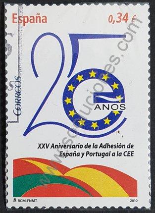 Sello España 2010 25 aniversario del Acta de adhesión de España a la CEE