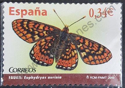 Sello mariposa Euphydryas aurinia España 2010
