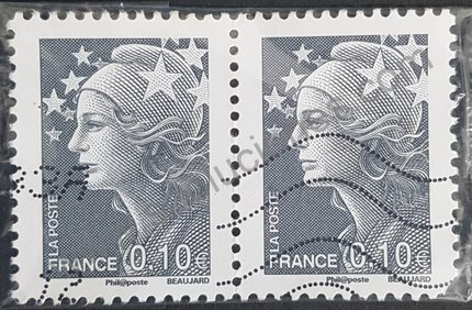 Sello Marianne y Europa Francia 2008 valor 0,10€