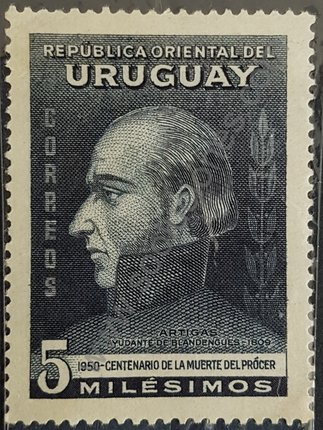 Sello de Uruguay año 1952 General Artigas busto