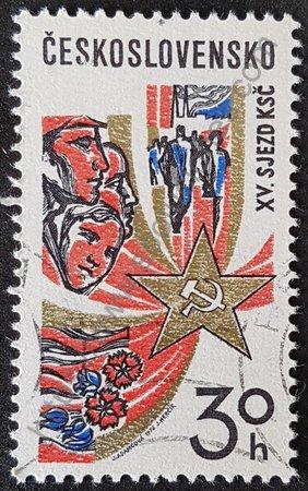 Sello Checoslovaquia 1976 XV Congreso del P. Comunista