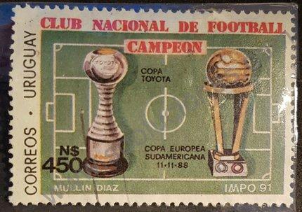 Sello copas Campeonato Europa 1988 - Nacional de Uruguay