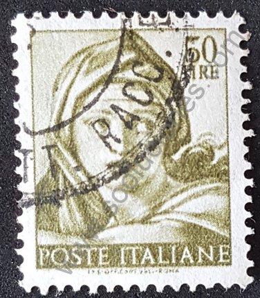 Sello Italia 1961 Miguel Angel cabeza de mujer