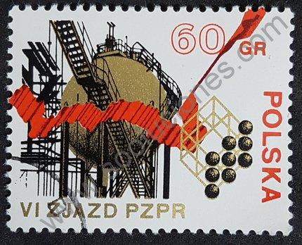 Sello Polonia 1955 VI Congreso del Partido de los Trabajadores