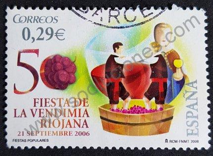 Sello fiesta de la vendimia Riojana España 2006