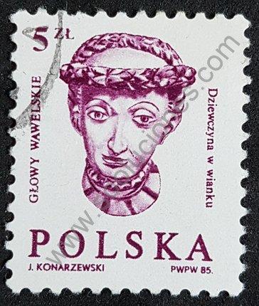 Sello cabeza de Wawel Polonia 1985