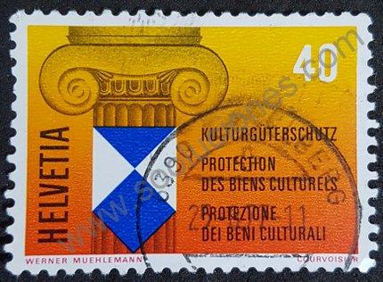 Sello Suiza 1977 Protección de bienes culturales
