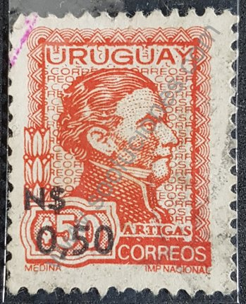 Sello Uruguay 1975 Artigas remarcado N$ 0,50