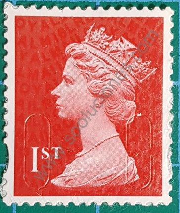 Sello 1st Reino Unido Elizabeth II Bermellón