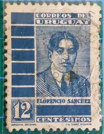 Sello Florencio Sánchez de Uruguay 1935 azul