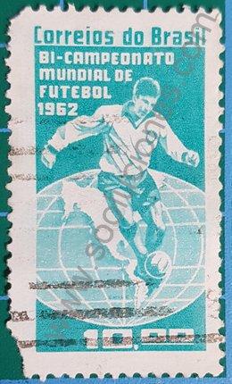 Sello Brasil 1963 bicampeón de futbol del mundo