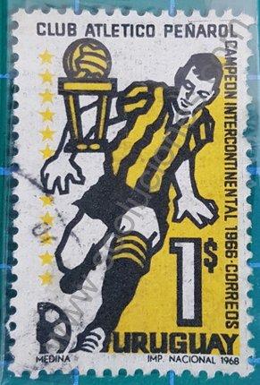Sello Club Peñarol campeón 1966 Uruguay 1968