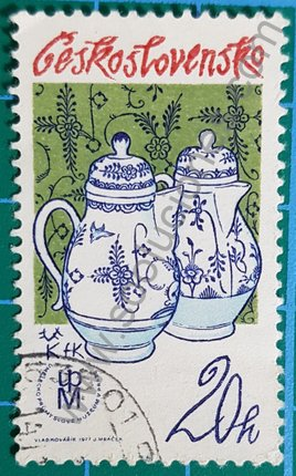 Sello Checoslovaquia Cafetera de porcelana 1977