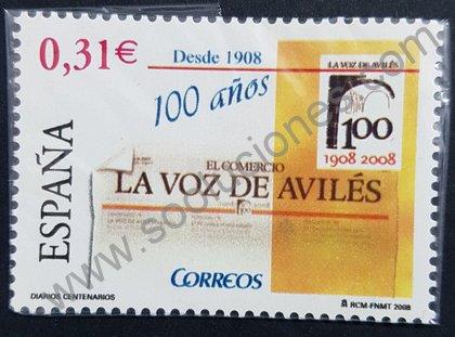 Centenario de La Voz de Avilés, sello de España 2008