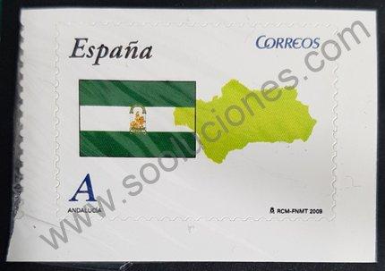 Sello España 2009 Andalucía Bandera y Mapa