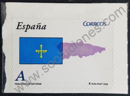 Sellos de España 2009 Asturias Bandera y Mapa