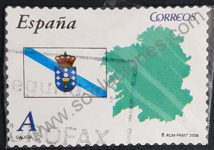 Sello de Galicia Mapa y Bandera 2009 España