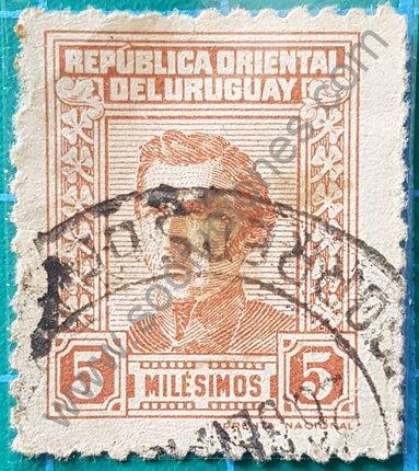 Sello Uruguay 1940 Artigas 5 milésimos