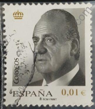 Sello España 2008 Rey Juan Carlos valor facial 0,01 € variante impresa en dorado