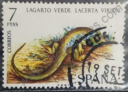 Sello España 1974 Lagarto verde serie reptiles