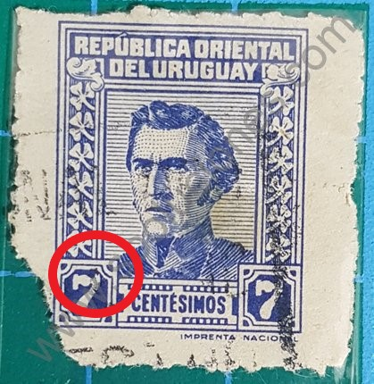 Sello Uruguay 1948 Artigas valor facial 7 centésimos